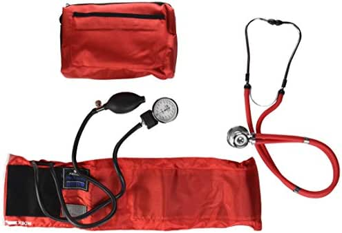 MABIS MatchMates Aneroid Sphygmomanometer and Sprague Rappaport Stethoscope Combination Manual Blood Pressure Kit with Calibrated Nylon Cuff, Professional Quality, Carrying Case, Red