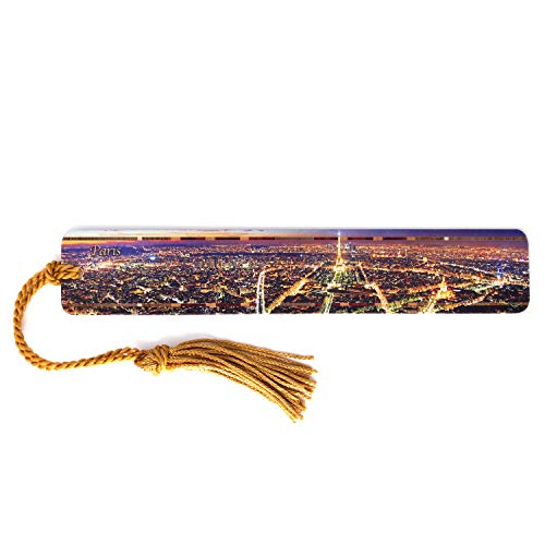 Colorful Wooden Bookmark - Paris France Skyline with Tassel