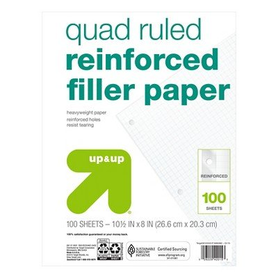 Filler Paper Reinforced Quad Ruled 100ct - up & up153; White by up & up™