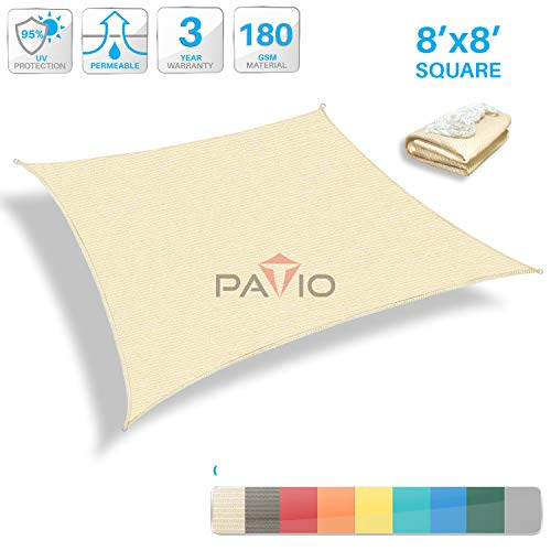 Patio Paradise 8' x 8' Tan Beige Sun Shade Sail Square Canopy - Permeable UV Block Fabric Durable Outdoor - Customized Available (Best Wood For Pergola In Arizona)