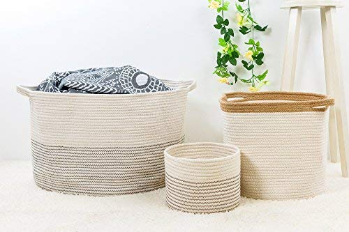 INDRESSME XXXLarge Cotton Rope Basket 21.7 x 21.7 x 13.8 Woven Baby Laundry Basket for Blankets Toys Storage Basket with Handle Comforter Cushions Storage Bins Thread Laundry Hamper-Black Stitch