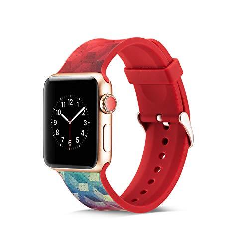 R02 Series - CosyZanx Compatible with Apple Watch Bands Soft Silicone Fashion Pattern Wristbands for Men Women Replacement Straps Accessories Bands for Watch Series 1, 2, 3, 4, 38/40MM, 42/44MM