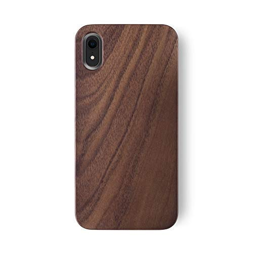iATO iPhone XR Wooden Case - Real Walnut Wood Grain Premium Protective Back Cover. Unique, Stylish & Classy Snap on Bumper Accessory Designed for 6.1 inch iPhone XR (2018) | Supports Wireless Charging