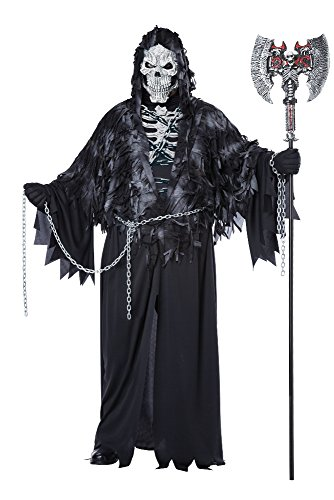California Costumes Men's Plus-Size Evil Unchained Scary Ghost Demon Skeleton Grim Reaper Plus, Black, Plus Size