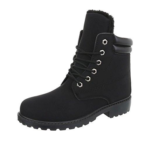 32b24577a40882 Ital-Design Schnürstiefeletten Damenschuhe Combat Boots Blockabsatz Warm  Gefütterte Schnürsenkel Stiefeletten Schwarz