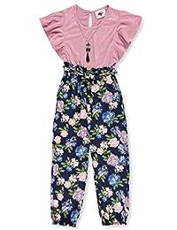 RMLA Girls' Flutter Flora Jumpsuit with Necklace
