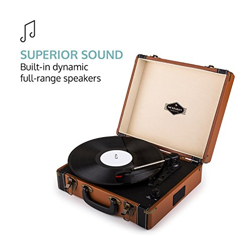 auna Jerry Lee, Record Player, Retro Design, Turntable in Portable Suitcase, Phonograph, Belt-Drive, Built-in Stereo Speakers, USB-Port, Vinyl LP, Carrying Strap, Digitization, Plug & Play, Brown