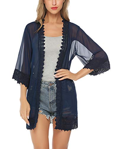 Aibrou Women's Summer Tops Chiffon Kimono Lace Crochet Cardigan Loose Beach Swim Cover up Blouse