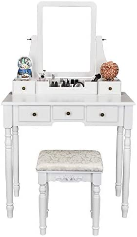 FCH Vanity Set with Oblong Mirror Cushioned Stool, Wood Dressing Table Vanity Makeup Table 5 Drawers 2 Dividers for Girls Women Bedroom, White
