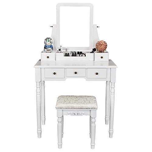 FCH Vanity Set with Oblong Mirror & Cushioned Stool, Wood Dressing Table Vanity Makeup Table 5 Drawers 2 Dividers for Girls Women Bedroom, White (Set Vanity On For Sale Bathroom)