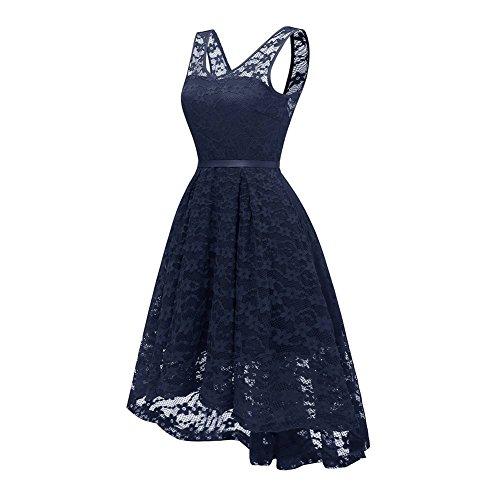 ... Damen Elegante Backless Brautjungfer Kleid Lace Floral Cocktailkleider  mit hinter Bowknot Marine nAydEE ... c3c9b79be1