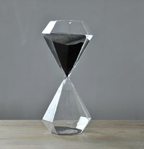 Glass Products 30 Minutes Hourglass Diamond Hourglass Sand Timer (Black)