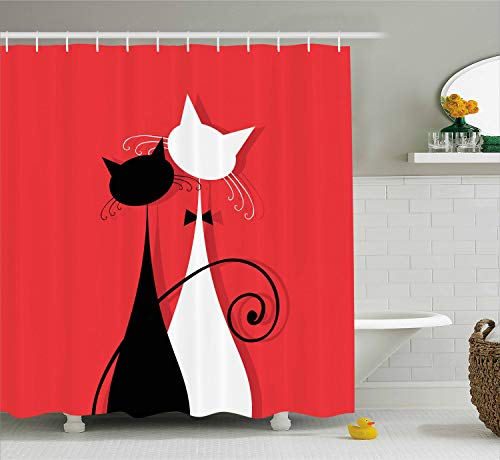 Medieval Wedding Theme Ideas (Ambesonne Cat Shower Curtain, Lover Kitty Silhouettes in Wedding Gowns Valentines Theme Bride and Groom, Fabric Bathroom Decor Set with Hooks, 75 Inches Long, Dark Coral Black)