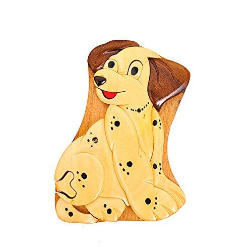Handmade Wooden Art Intarsia TRICK SECRET Dalmation Puppy Puzzle Trinket Box (3352) (g2)