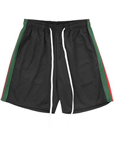 Ma Croix Mens Stripe Track Shorts (2X-Large, 1MXA0006_Black/H Green/Red)