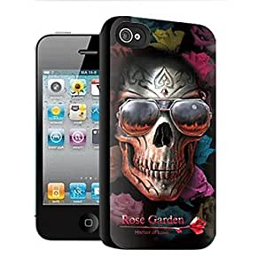 QJM Rose Garden Skull Pattern 3D Effect Case for iPhone4/4S