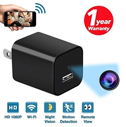 New 2019 WiFi Spy Hidden Camera Charger with Night Vision Remote View,HD 1080P Spy Camera USB Charger with Audio,Wireless Nanny Cam, Home Surveillance Spy Cam with Motion Detection