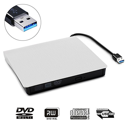 External DVD CD Drive, JIRVY USB 3.0 Ultra Slim Portable External Slot CD DVD Storage Drive External DVD Writer Burner Player RW/ROM Drive for Apple Macbook Pro Air iMAC or Laptops/Desktops (White) by JIRVY