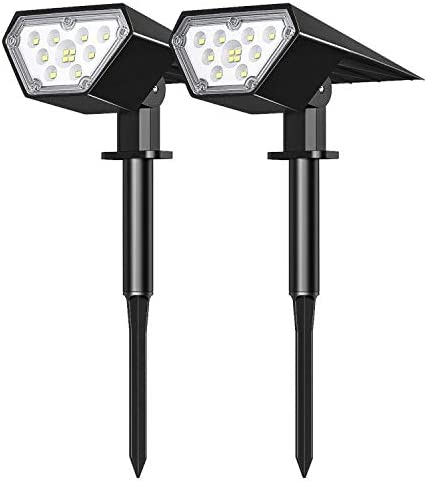 Tranmix Solar Landscape Spotlights 12 LEDs Solar Lights Outdoor Waterproof Solar Powered Wall Light 2-in-1 Solar Security Light Auto On Off for Pathway Garden Patio Yard Driveway Pool Warm 2 Pack
