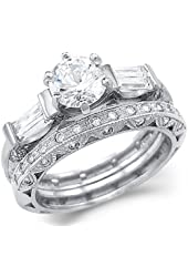 Solid 14k White Gold CZ Cubic Zirconia Engagement Ring Set With Matching Eternity Band 2.5 ct
