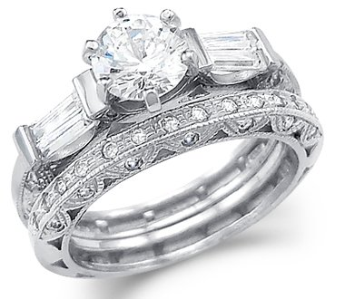 Size  4   Solid 14k White Gold CZ Cubic Zirconia Engagement Ring Set With  Matching