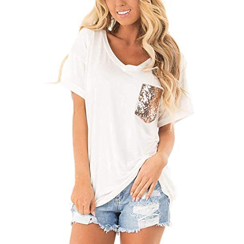 (loukou Women Casual V-Neck Short Sleeve Sequin Pocket Patchwork Loose T-Shirt Top Knits & Tees White)