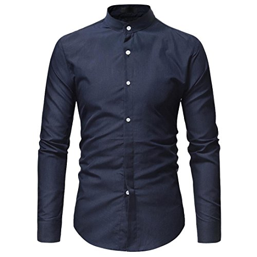 AmyDong Men Casual Shirt Long Sleeve Business Slim Dress Shirt T Shirt Top Two Pairs of Personalized Double-Shirt (2XL, Navy A) by AmyDong