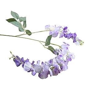 NszzJixo9 Artificial Silk Wisteria Fake Garden Hanging Flower Plant Vine Wedding Decor, Flowers Fake for Wedding Ceremony Arch Party Home Garden Deco (Purple) 1