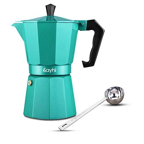 Espresso Maker, HOOHI 240 ML Aluminum Moka Express Stovetop Espresso Maker Pot Coffee Machine + 1 Coffee Scoop, 4 Cup (Green) (Industrial Expresso Machine compare prices)