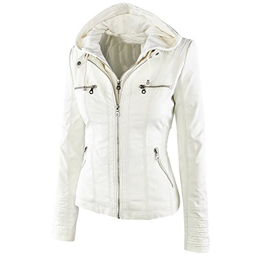 Vintage White Leather Jacket - 1