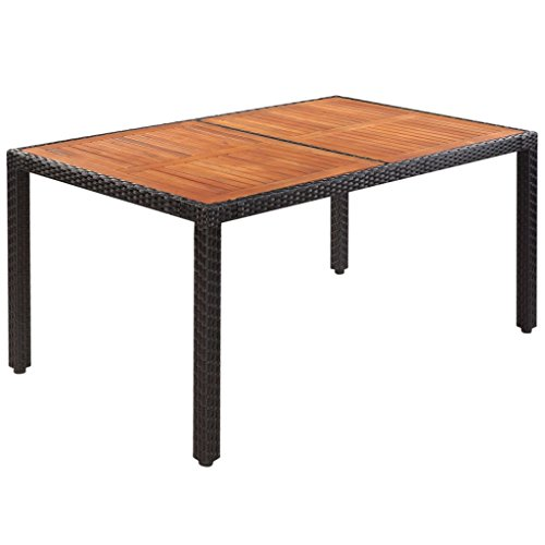 BLXCOMUS Black Modern Dining Table Poly Rattan Acacia Wood Rectangle Coffee Table For Family Dinner With Size:59