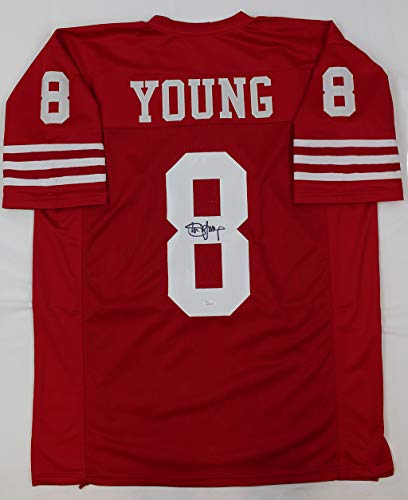 (Steve Young Autographed Red San Francisco 49ers Jersey - Hand Signed By Steve Young and Certified Authentic by JSA - Includes Certificate of Authenticity)