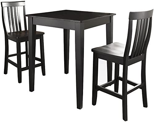 Crosley Furniture 3-Piece Pub Set with Tapered Leg Table and Schoolhouse  Stools, Black