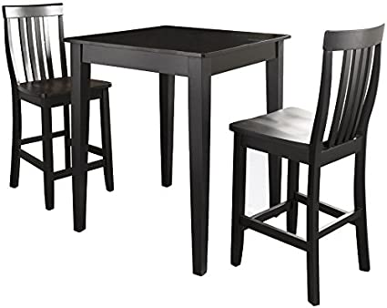 Crosley Furniture 3 Piece Pub Set With Tapered Leg Table And Schoolhouse  Stools   Black
