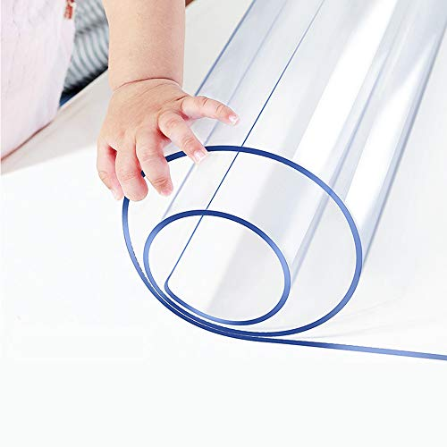 1.5mm Thick Round Furniture Table Protector Clear Plastic Tablecloth Wipeable Water Heat Dust Resistant Desk Top Cover PVC Acrylic Round Coffee Dining Banquet Dinner Buffet Tabletop Protective Pad ()