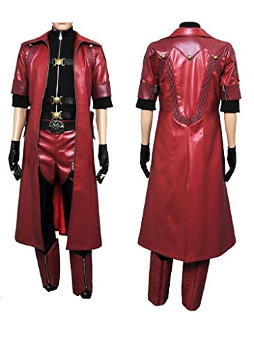 Wolfbar DMC Devil May Cry 4 Dante Coat Outfit Uniform Suit Halloween Cosplay Costume L Red]()