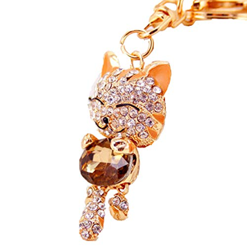 JewelBeauty Bling Bling Crystal Rhinestone Lovely Animal Cute Fortune Cat Car Bag Pendant Keyring Keychains - Charm Unique Pendant