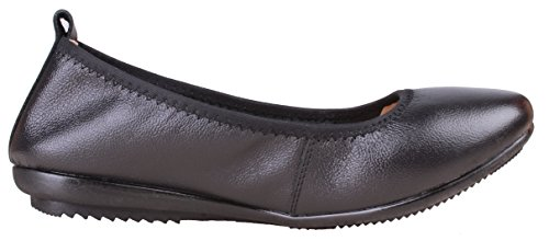 Kunsto Women's Comfort Leather Ballet Flats Shoes US Size 8 Black by Kunsto (Image #2)