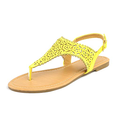(DREAM PAIRS MEDINIE Women Rhinestone Casual Wear Cut Out Flat Sandals Yellow Size 9)