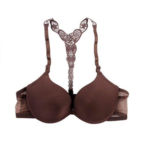 brightup Mujer Front cierre Lace espalda sujetador bordado espalda cruzada Push up sin costuras sujetador marrón