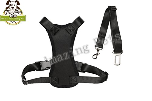 Best Buy  Amazing Pets Vehicle Dog Harness Mesh Vest with Safety Harness Belt   color Black Premium and Modern Large Size