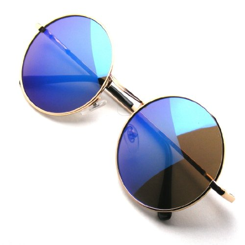 John Lennon Inspired Sunglasses Round Hippie Shades Retro Colored Lenses (Gold Blue - Lunettes Glasses