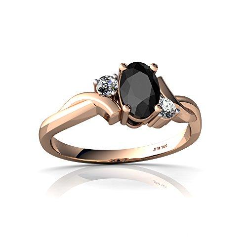 14kt Rose Gold Black Onyx and Diamond 6x4mm Oval Swirls Ring - Size 9