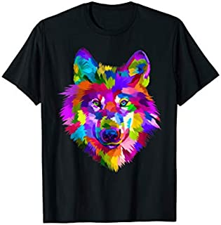 Colorful Wolf Head Icon On Pop Art Style Tee T-shirt | Size S - 5XL