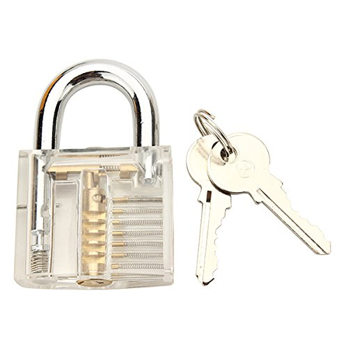 HITSAN 7Pcs Different Type Transparent Practice Padlock Kit Locksmith Practice Training Skill Set One Piece