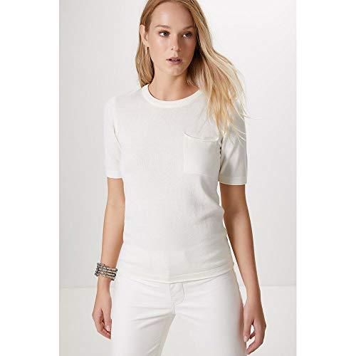 Camiseta Tricot Detalhe Bolso-Off White - M