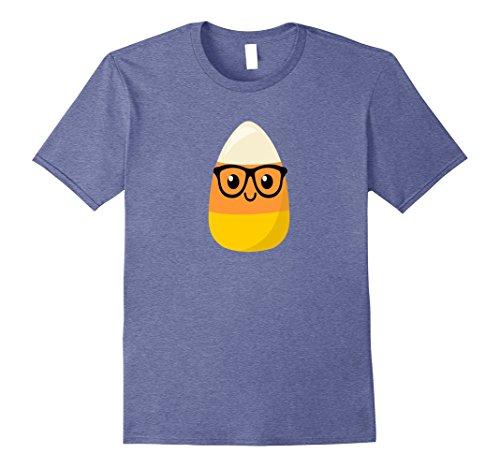 Nerds Candy Costume (Mens Halloween Candy Corn Nerd T Shirt Medium Heather Blue)