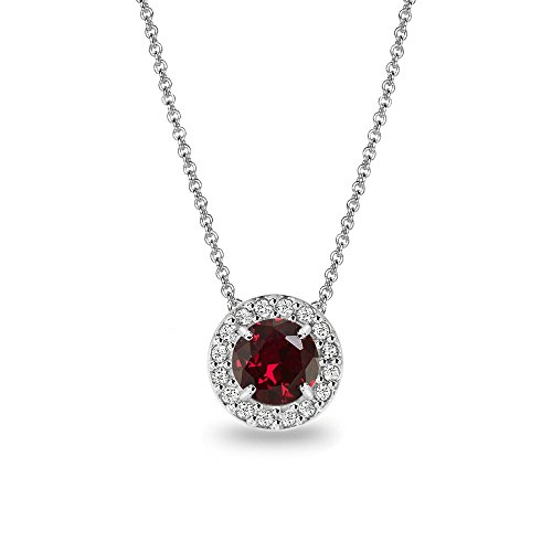 (Sterling Silver Simulated Ruby & White Topaz Round Halo Slide)