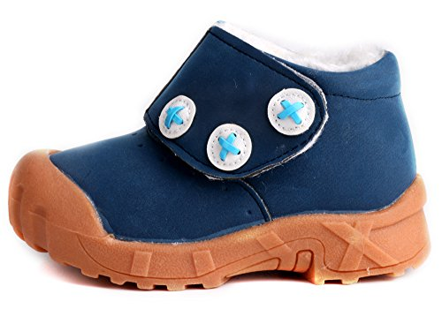 Pictures of LONSOEN Toddler Winter Snow Boots for Boy Girl Outdoor Waterproof Booties with Fur Lined, Blue, BAY003 CN22 7