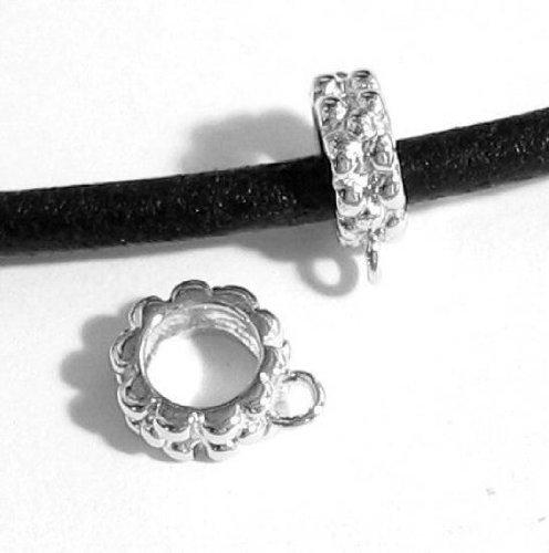 - 2 pcs .925 Sterling Silver Pendant Charm Connector Cord Ring Slide For European Bracelets